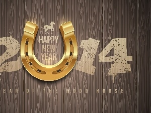 2014, New, year, horseshoe, decoration, Happy