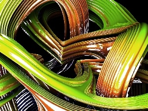 3D, Belts, green, Orange