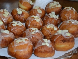 icing, almonds, donuts