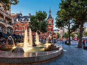 Amsterdam, Town, fountain, Netherlands, buildings