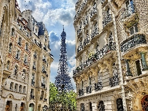 apartment house, Eiffla Tower, Paris, France