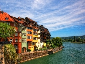 apartment house, over The River, color