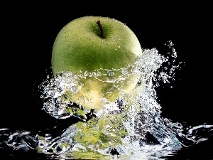 Apple, water, green ones