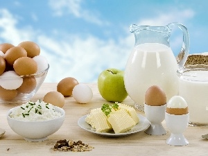 Apple, butter, eggs, Muesli, milk