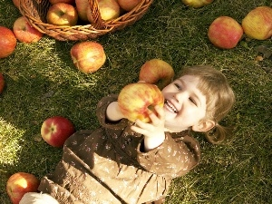 color, apples, girl