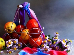 apples, shawl, Metal, daisy, basket