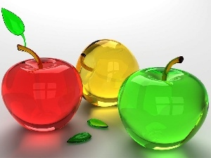 Fruits, apples, glass