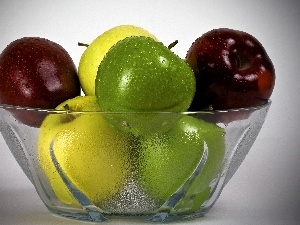 apples, color, Glass, bowl