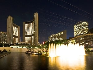 architecture, fountain, Toronto, Night, water