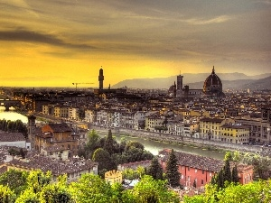 Arno, River, Town, Florence