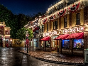Project, California, City ​​at Night, Anaheim, USA, Disneyland, HDR, Houses