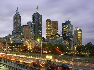 Australia, Melbourne, Town, Night