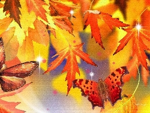 autumn, Leaf, red, butterflies, Yellow