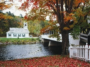 autumn, River, Church, bridge
