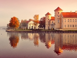 autumn, ducks, River, Germany, structures