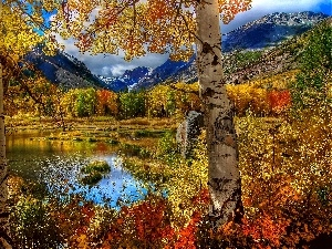 lake, autumn, Mountains