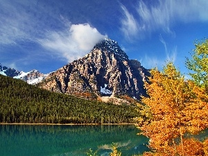 Autumn, lake, Mountains, trees, woods