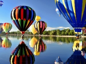 Balloons, River, color, trees, reflection, viewes