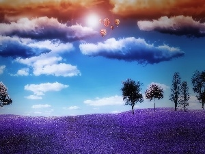 Balloons, clouds, Violet, Meadow