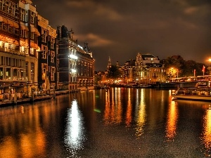 Barges, River, Venice, night