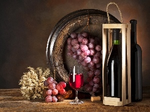 grapes, barrel, Wine