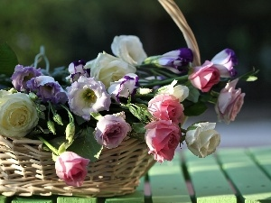 basket, wicker, bouquet, flowers