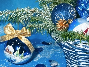 basket, baubles, decoration, branch, Christmas