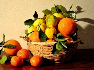orange, basket, lemons