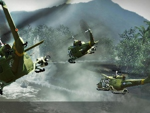 action, Battle, helicopters