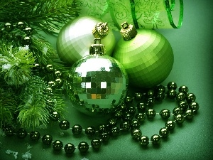 baubles, ornamentation, green ones