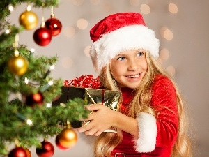 baubles, christmas tree, girl, Present, Blonde