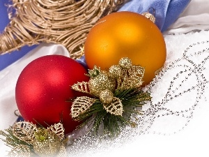 beads, baubles, decoration, leaves, Christmas