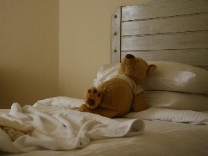 White Bed, resting, teddy bear, plush toy