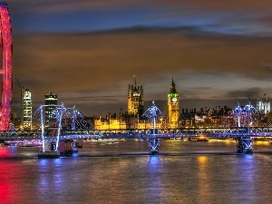 bridge, London Eye, Palace of Westminster, thames, Big Ben