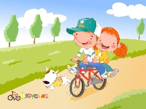 dog, Bike, Kids