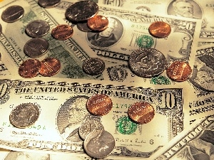 bills, coins, U.S. dollars