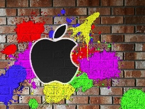 blots, color, Apple, brick