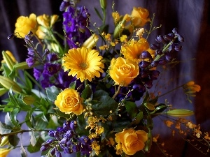 blue, Bouquet of Flowers, yellow