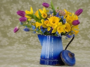 blue, flowers, bouquet, jug, spring