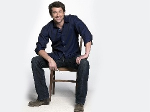 Blue, Chair, Patrick Dempsey, shirt, actor