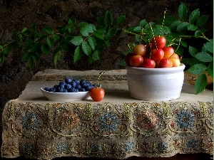 blueberries, cherries, Table, tablecloth