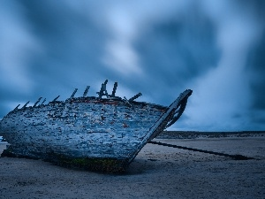 Boat, Old, clouds, Beaches