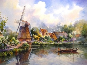 Boat, River, picture, Houses, Windmill