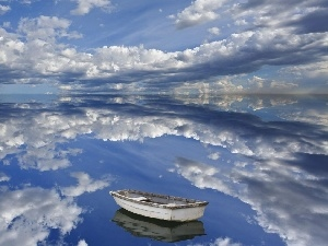 Boat, lake, clouds, reflection, Sky