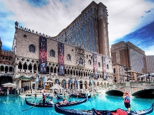 boats, water, Hotel hall, Las Vegas