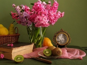 Fruits, Books, Hyacinths