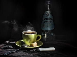 Bottle, lighter, cup, coffee