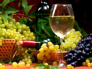 Bottle, glass, bunches, Wine, grapes