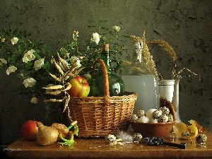 Bottles, basket, apples, quail, Flowers, eggs