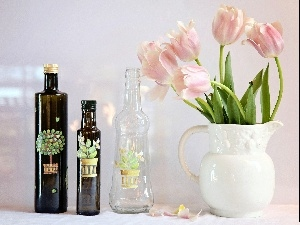 Tulips, Bottles, pitcher